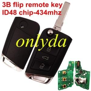 for VW MQB platform 3B flip remote key with ID48 chip-434mhz & HU66 blade