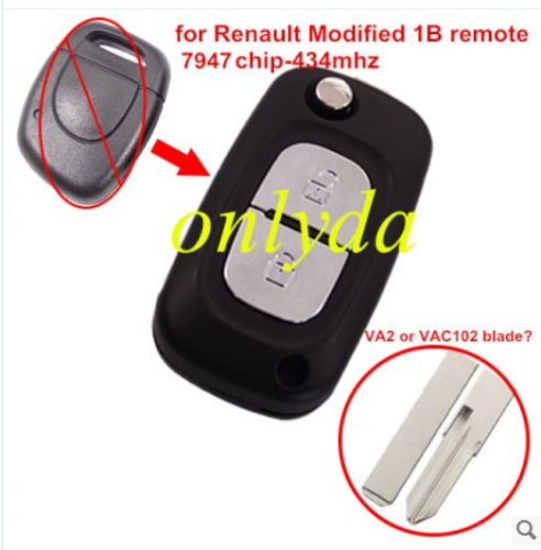 for Renault Modified 1 button remote key7947 chip-434mhz