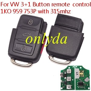 For VW 3+1 Button remote control 1KO 959 753P with 315mhz