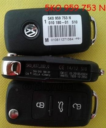For VW 3 button remote key with 434mhz Model Number is 5KO-959-753-N/5KO-837-202Q