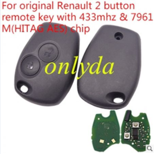 original Renault 2 button remote key with 433mhz & 7961M/7939chip(HITAG AES) chip no blade