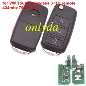 For VW Touareg keyless 3+1 button remote key with 7942 chip 315mhz/434mhz