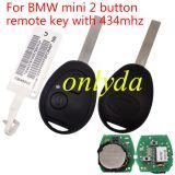 For BMW mini 2 button remote key with 434mhz