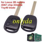 For Lexus 2 button remote key with 4D67 chip with 315mhz/433mhz use for Toyota land cruiser prado