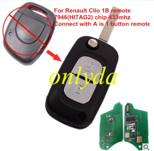 renault Clio 1 button remote key with 7946(HITAG2) chip  with 433mhz  blade: VA2