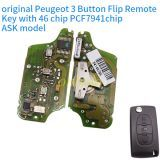 original for Peugeot 3 Button Flip Remote Key with 46 chip PCF7941chip ASK model with VA2 and HU83 blade, trunk and light button , please choose the key shell