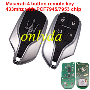 For Maserati original 4 button remote key with 433mhz with PCF7945/7953 chip no blade