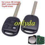 For Lexus 3 button remote key with 4D67 chip with 315mhz/433mhz use for Lexus land cruiser prado (short blade)