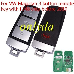For VW Magotan 3 button remote key with ID48 chip before 2010