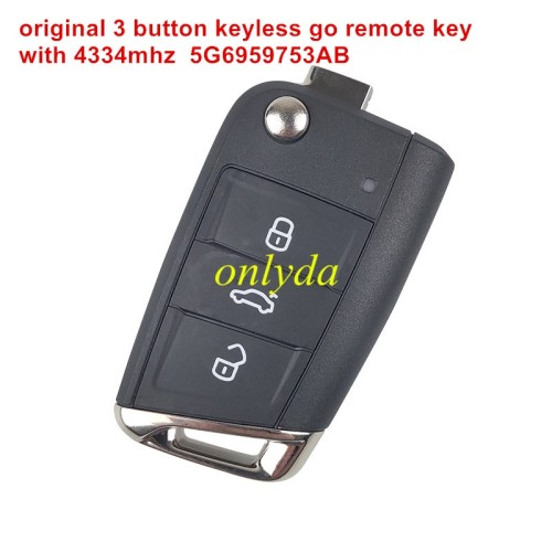Original 3 button keyless go remote key with 434mhz 5G6959753AB