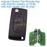 original for Peugeot 2 Button Flip Remote Key with 433mhz (battery on PCB) with ASK model with 46 PCF7941chip with VA2 and HU83 blade , please choose the key shell