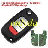 Original For Benz smart 3+1 button remote key with 434mhz with PCF7961M chip