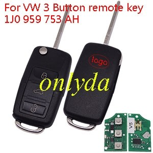 VW 3 Button remote key 1J0 959 753 AH     with ID48 chip-434mhz