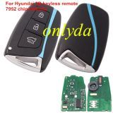 For hyundai 3 button smart keyless remote key with 434mhz with 7952 chip