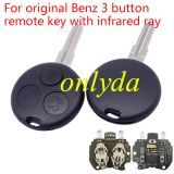 Original For Benz 3 button remote key with infrared ray