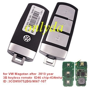For VW Magotan 3 button keyless remote key with ID46 chip after 2010 ID :3CO959752BG/9067-107