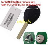 for MINI 2 button remote key with PCF7935 (ID33) chip 434mhz