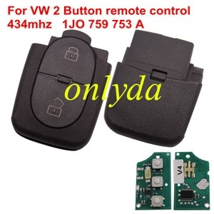 For VW 2 Button remote control with 434mhz 1JO 759 753 A