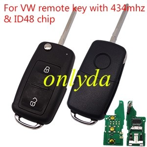 For VW 2 button remote key with 433mhz & ID48 glass chip 5KO 959 753AB