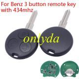 For Benz 3 button remote key with 315mhz/434mhz use for Smart car