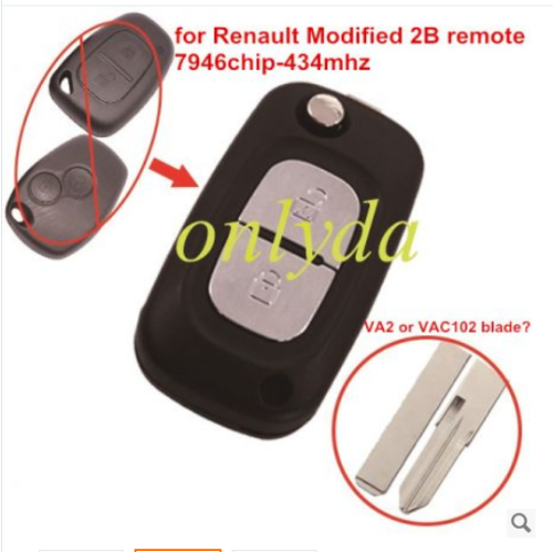 for Renault Modified 2 button remote key 7946 chip-434mhz
