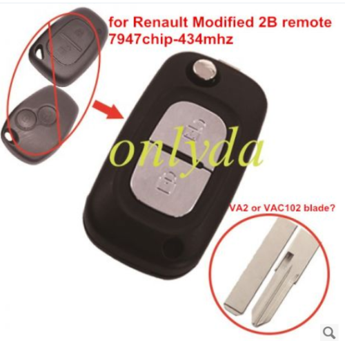 for Renault Modified 2 button remote key 7947 chip-434mhz