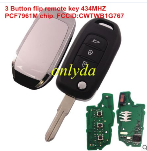 3B flip remote PCF7961M chip Hitag AES-434mhz FCCID:CWTWB1G767 for Renault Captur/Megane 3