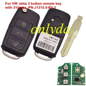 For VW Jetta 3 button remote key with 315mhz without chip PN:J1315.5-B5-3