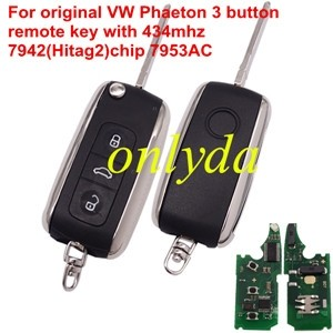 For VW Phaeton 3 button remote key with 7942(Hitag2)chip 7953AC 315/434mhz