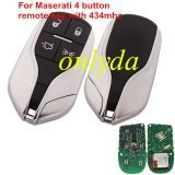 For Maserati 4 button remote key with PCF7945/7953(HITAG2) 315mhz/434mhz