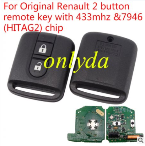 For Original Renault 2 button remote key with 433mhz & 7946(HITAG2) chip no blade Continental: 5WK4 876/818