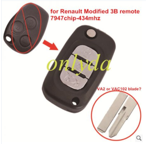 for Renault Modified 3 button remote key 7947 chip-434mhz