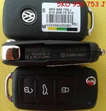 For VW 3 button remote key with 434mhz Model Number is 5KO-959-753-J / 5KO-837-202-J