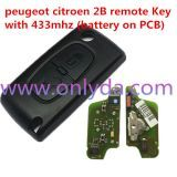 For Peugeot 2 Button Flip Remote Key with 433mhz (battery on PCB) with FSK model with 46 chip