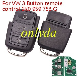 For VW 3 Button remote control 1K0 959 753 G with 433mhz