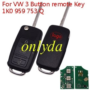 For VW 3 Button 1K0 959 753 Q with 315mhz