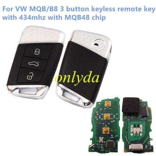 For VW MQB/B8 3 button keyless remote key with 434mhz with MQB48 chip