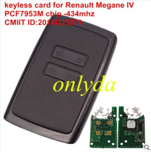 keyless card for Renault Megane4 with 4button PCF7953M-434mhz CMIIT ID:2014DJ3371
