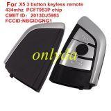 Original For BMW X5 3 button keyless remote key