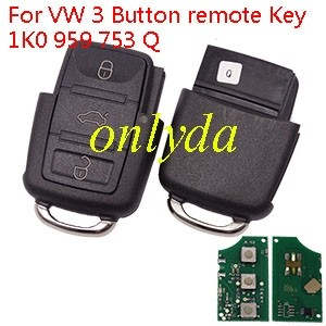 For VW 3 Button remote Key 1K0 959 753 Q with 315mhz