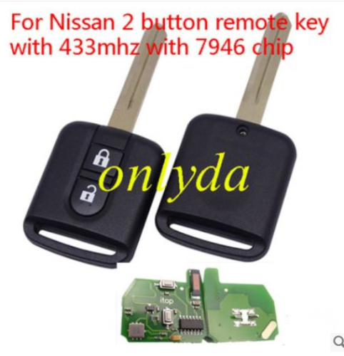 For Renault 2 button remote key 433mhz 7946 chip FSK model