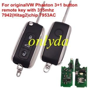 VW Phaeton 3+1 button  remote key with 315mhz 7942(Hitag2)chip 7953AC