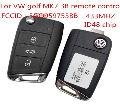 VW golf MK7 3 Button remote control FCCID is 5GO959753BH with 433MHZ with ID48chip