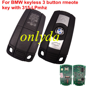 For BMW CSA3 keyless 3 button rmeote key for bmw 1、3、5、6、X5,X6,Z4 series with 315-LP-MHZ,with 7942 chip