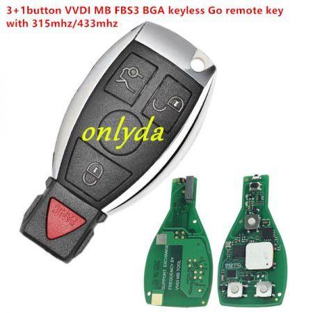 Mercedes-Benz 3+1 button VVDI MB FBS3  BGA KeylessGo key 315MHZ/433MHZ for Benz W164 W166 W204 W207 W212 W221