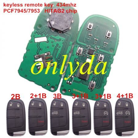keyless remote key434mhz- PCF7945/7953 HITAG2 chip with 2/2+1/3/3+1/4+1 button key shell