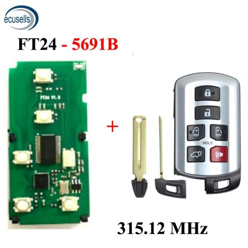 Lonsdor 315.12MHz Keyless Entry Remote Smart FT24-5691B PCB Board Fit for Toyota Sienna Van 2011-2019 Smart Car Remote Key