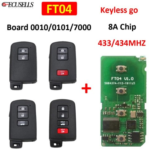 Lonsdor FT04 Circuit Board 0101/0010/7000 Keyless Go Remote Smart Car Key Pcb 433Mhz 434Mhz 8A Chip for Lexus for Toyota K518