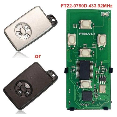 Lonsdor FT22-0780D/S0780D 433.92MHz 3 Buttons Smart Remote Car Key for Subaru/Toyota Alphard 2006-2016 Replacement 4D PCB Board
