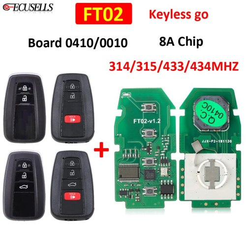 Lonsdor FT02 0410/0010 Circuit Board Remote Smart Keyless Go Car Key Pcb 314/433Mhz 8A Chip for Lexus Toyota Camry Avalon Hybrid